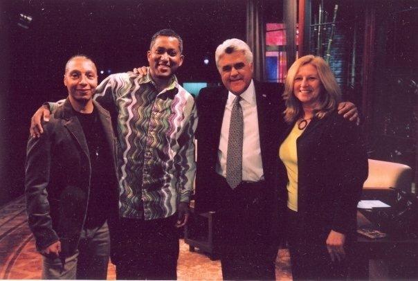 Tonight Show host Jay Leno and Candido Bretto