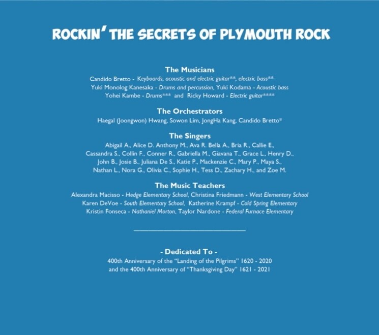 Pilgrim songs based on the storybook The Secrets of Plymouth Rock, celebrating the 400th anniversary of the Pilgrims.